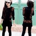 12 13 14 anos meninas adolescentes roupas estampa de leopardo conjunto de roupas 2014 manga longa t-shirt calças de outono 150 160 cm inverno 2 peça