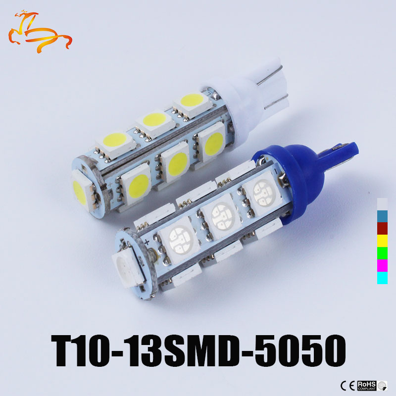 цена на 100 Pcs En Gros Blanc T10 13 SMD Led 5050 13Smd 13Led Auto Side Car Ampoule Lampe 194 168 W5W LED Wedge Ampoules 12 V
