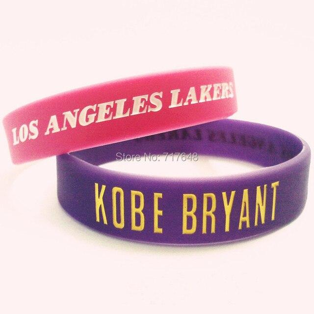 1pc Kobe Bryant Wristband Silicone Bracelets Hot Pink Purple Rubber Cuff Wrist Bands Bangle Free Shipping