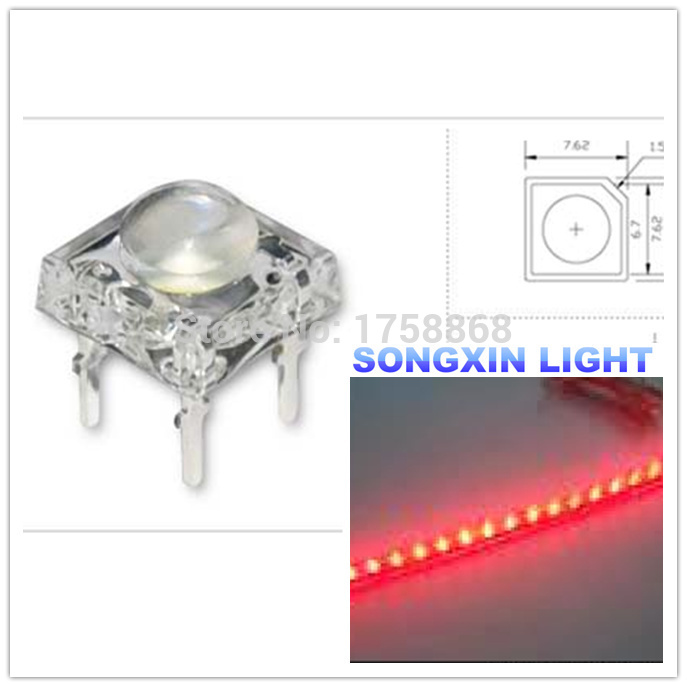 100Pcs 4Pin 5mm RED Light Piranha Super Flux LED Bulb