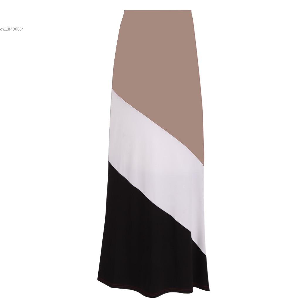 Women Long Skirt patchwork High Waist Maxi Bodycon Bandage Sexy Club Skirt floor length Vestido