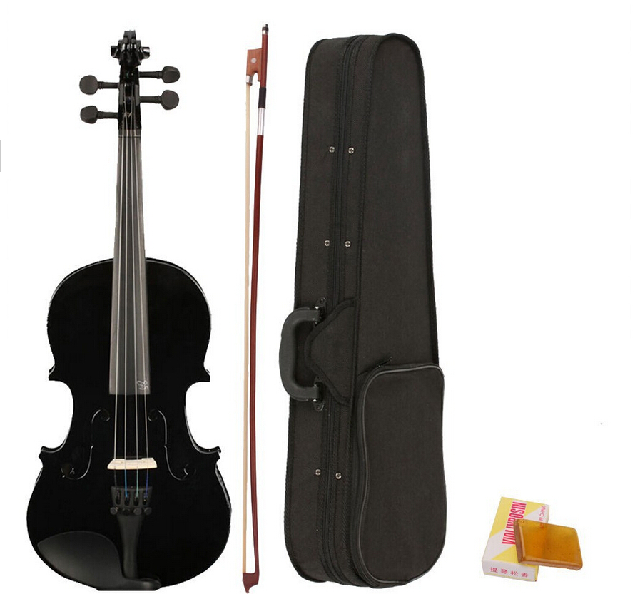 ФОТО Hot popular Cool Fashion Full Size 4/4 Black Natural Acoustic Violin Fiddle with Case+Bow+Rosin for Violin Learner / Enthusiast