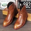 3 Colores Vestido de Diseñador Para Hombre Marrón de Alta Superior Zapatos de Punta Redonda Negro Botín de piel de la Cremallera Resbalón de Bota Corta Para Hombre 38-43