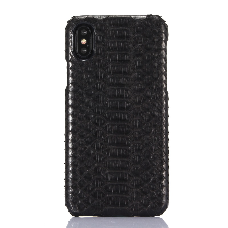 Solque Luxury 3D Python Skin Genuine Leather Phone Cases For iPhone X XS Max Real Leather