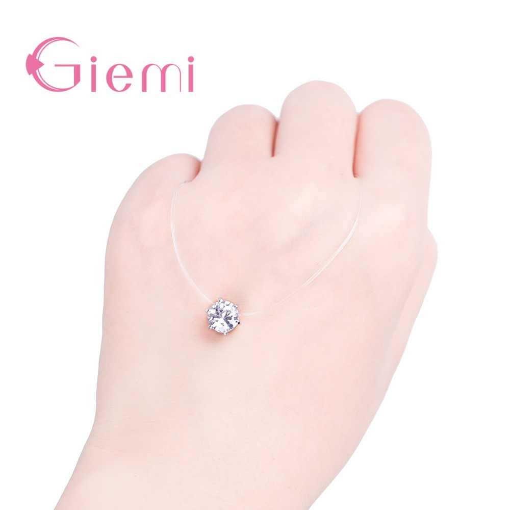 Hot Sale Factory Price Various Colors Clear Crystal Cubic Zirconia Pendant Necklace Real 925 Sterling Silver Jewelry Gift