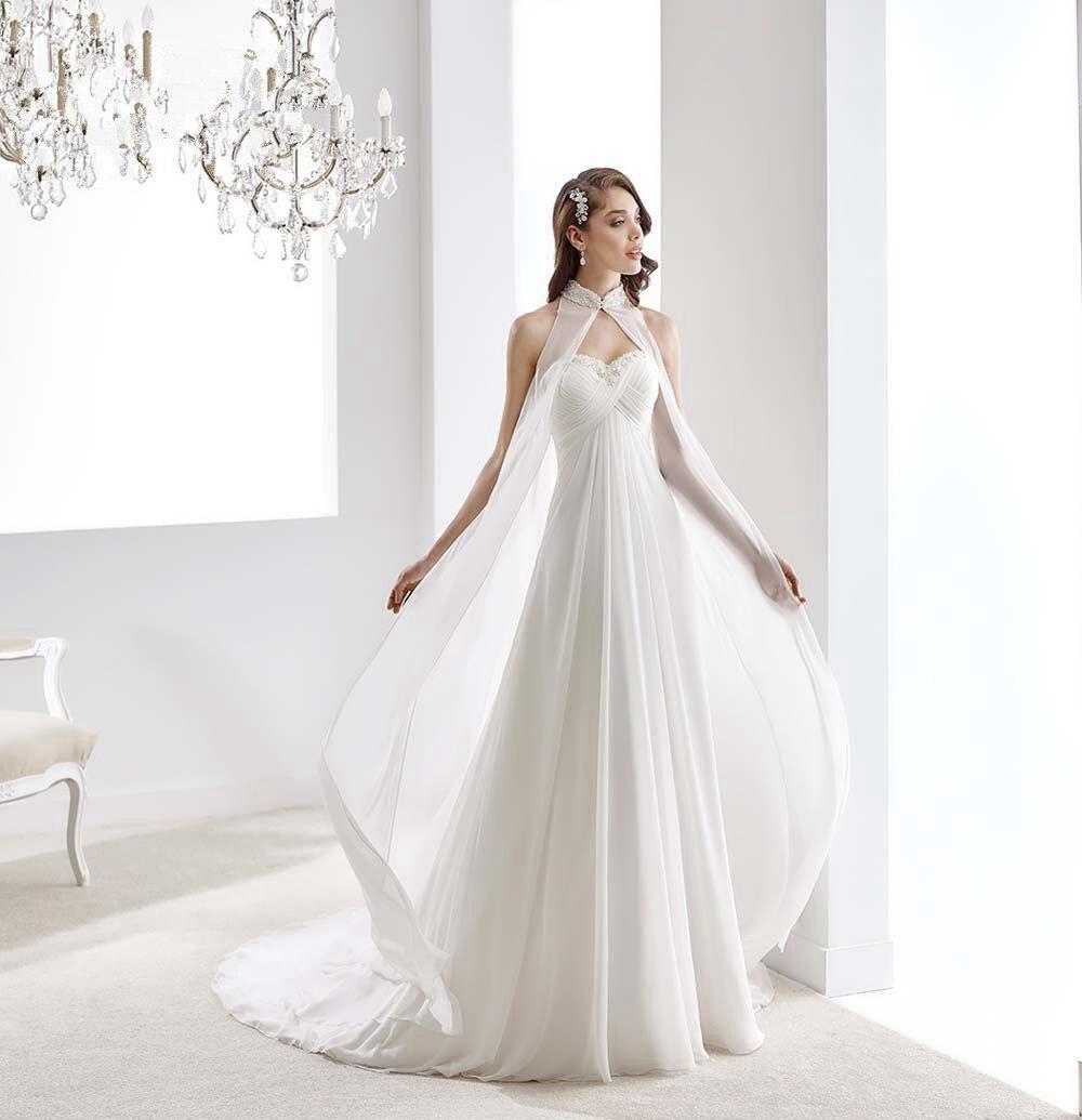 Simple Two Piece Chiffon Beach Wedding Dresses Turkey