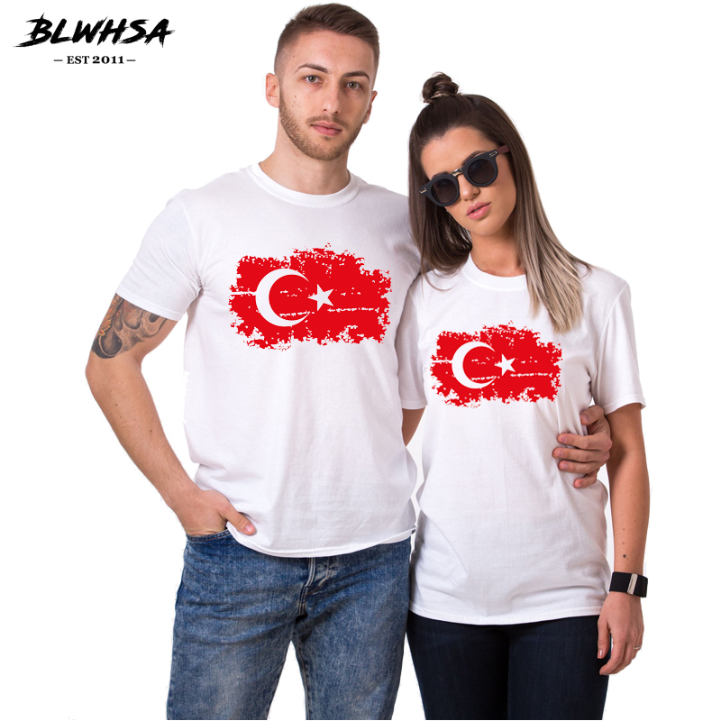 BLWHSA Summer Top Casual White T Shirt Couple Clothes Turkey Flag Print Female 100% Cotton T-shirt Short Sleeve Lovers Couple