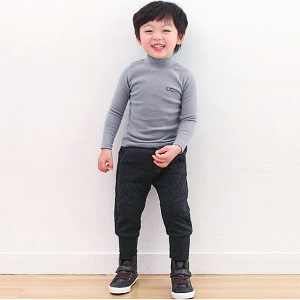 Boys T Shirt Kids Children Glasses Printed Turtleneck Long