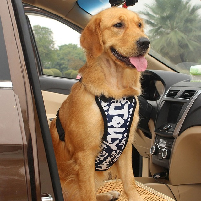 Safety Dog Car Seat Belt Pet Harness And Leash Set Adjustable Nylon Mesh Vehicle Harnesses