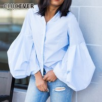 CHICEVER Blue Blouse Women's Shirts V Neck Puff Sleeve Single Breasted Womens Tops And Blouses Autumn Fashion Clothing New 2018