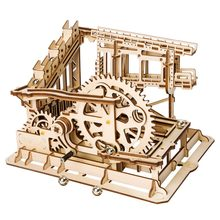 Robotime DIY Cog Coaster Marble Run Game Wooden Model Building Kits Assembly Toy Gift for Children LG502