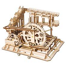 Robotime DIY Cog Coaster mermer çalıştırmak oyunu AHŞAP Model yapı kitleri montaj oyuncak hediye çocuklar için LG502