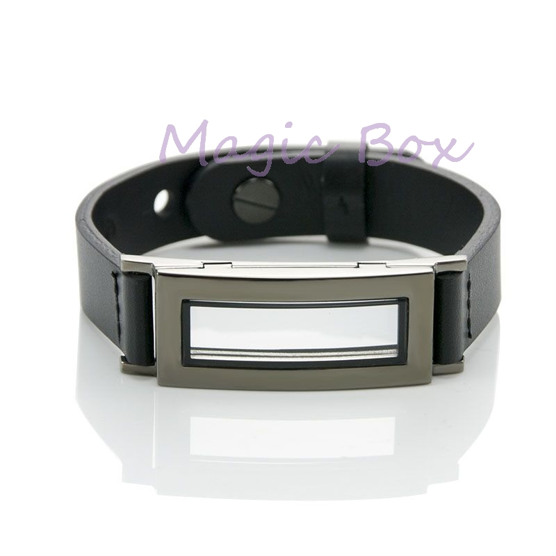 Stainless Steel locket bracelet men floating charm locket women bracelet leather