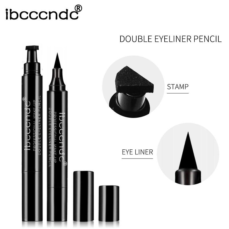 IBCCCNDC Brand Makeup Black Eye Liner Liquid Pencil Quick Dry Waterproof Black Double-ended Makeup Stamps Wing Eyeliner Pencil 5