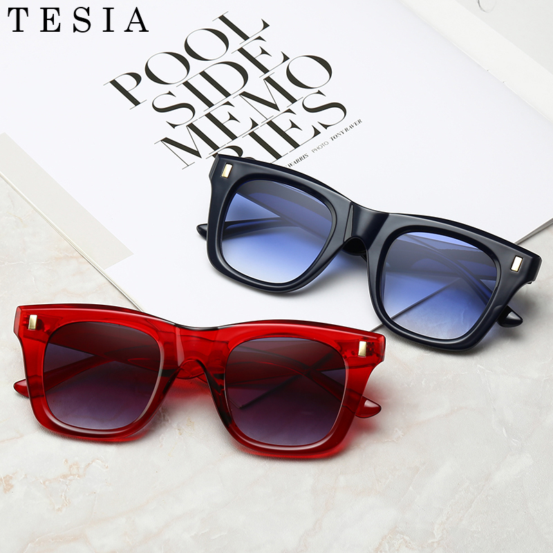 Vintage Sun Glasses For Women Men Brand Designer Gradient Lens Eyewear Leopard Red Black Glasses Oculos De Sol Feminino Square thumbnail