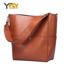 Y-FLY Big Capacity Women Shoulder Bag Hot Sale Bucket Bag New Top-Handle Bags Handbags Tote Genuine Leather Ladies Bolsas HC354
