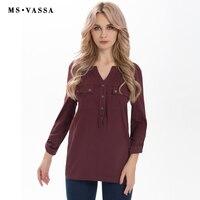 MS VASSA Ladies Tees 2017 Summer Spring Casual Women Tops T Shirt Long Sleeve V Neck
