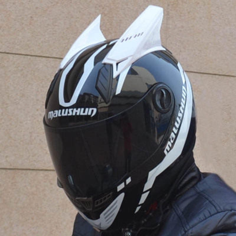 New design MALUSHUN motorcycle helmet with horns 4 color lens for option full face automobile race helmet Casco moto 2017 new yohe full face motorcycle helmet yh 970 double lens motorbike helmets made of abs and pc lens with speed color 4 size