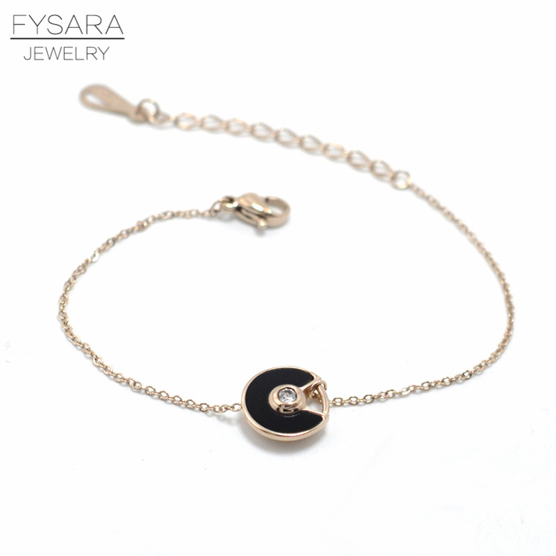 FYSARA Stainles Steel Black/White Shell Circle Saucer Charm Bracelet CZ Crystal Luxury Trendy Chain Link Bracelets For Women 8