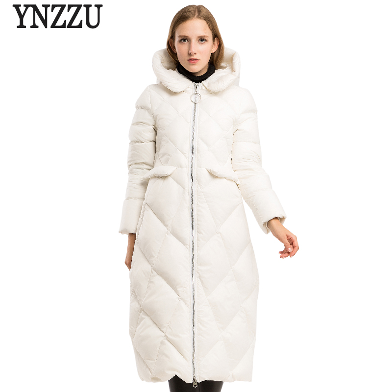Brand 2018 Winter Women's   Down   Jacket Elegant White Long Style Duck   Down     Coats   High Quality Thick Warm Hooded Woman Jacket AO619