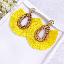 Boho Handmade Tassel Fringes Earrings for Women Ethnic Long Pearl Dangle Drop Rattan Wooden Flower Statement Jewelry