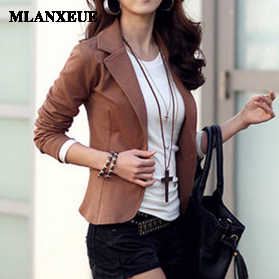 Office lady solid slim business blazers font b women b font autumn notched collar full sleeves