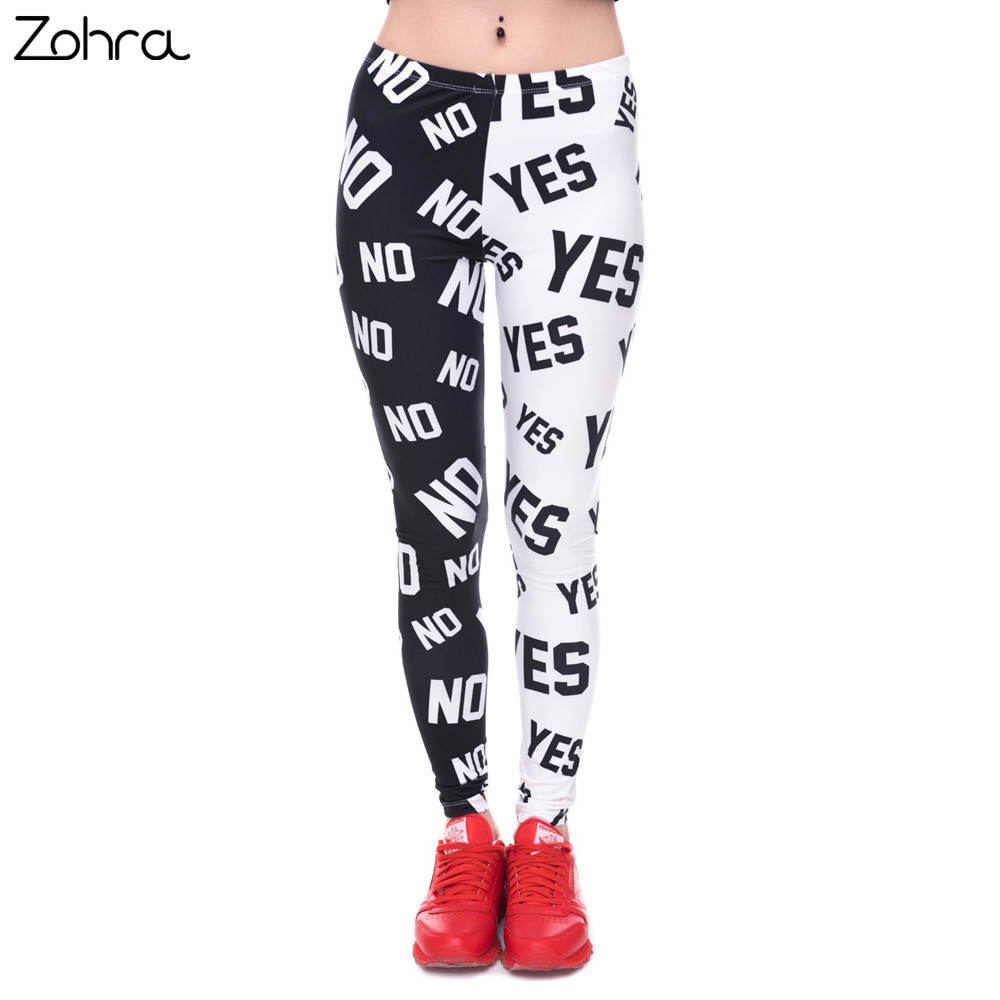 Zohra Womens Fashion Elasticity Ja og Nei Trykt Slim Fit Legging Workout Bukser Casual Buks Leggings