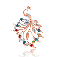 New Alloy Trend Personality Fashion Noble Brooch Pin Peacock Red Colorful Different Temperament Dress Accessories