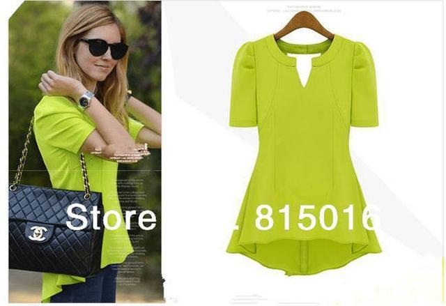Free shipping Short sleeve fashion chiffon Blouse,Dovetail chiffon shirt for women,2013 New o-neck women's party blouse shirts