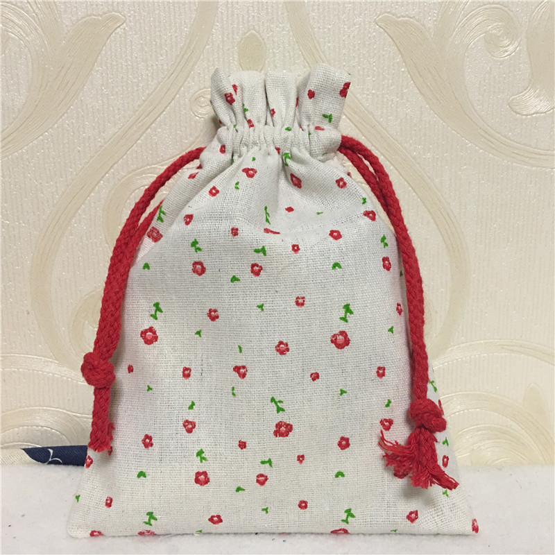 YILE 1pc Cotton Linen Drawstring Bag Multi-purpose Organizer Mini Red Flower Party Favor 8123a