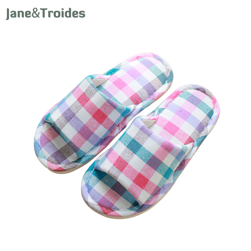 Summer Spring Home Women Slippers Anti Slip Cotton Soft Plaid Flip Flops Casual Indoor Outdoor Sandals Fashion Brand Woman Shoes plush winter slippers indoor animal emoji furry house home with fur flip flops women fluffy rihanna slides fenty shoes