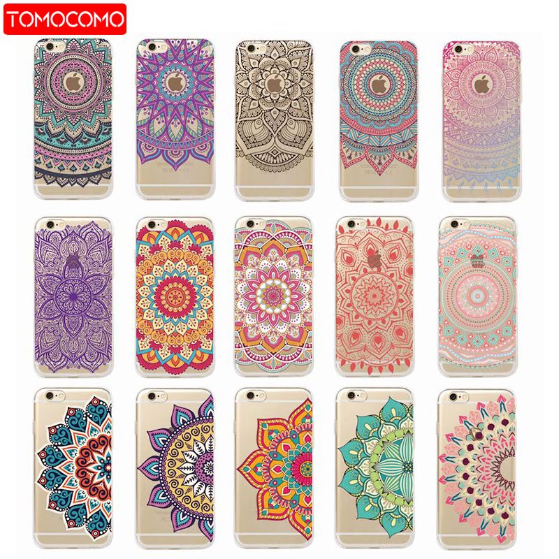 TOMOCOMO Vintage Indian Floral Henna Mandala Yoga Ethnic Soft Tpu Phone Case Coque For iPhone 7Plus 7 6Plus 6 6S 5 5S 8 8Plus X