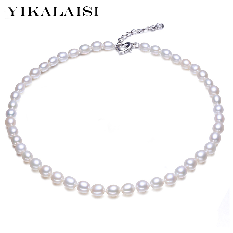 YIKALAISI 925 Sterling Silver Natural Pearl Halskjede Motesmykker For kvinner 6-7mm Pearl 3 Color