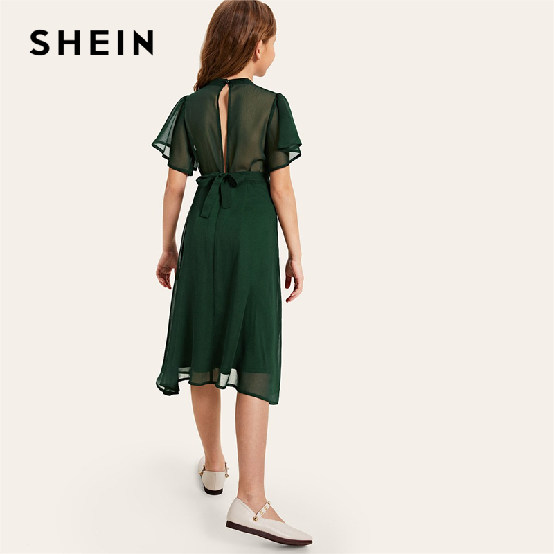 SHEIN Kiddie Girls Green Solid Split Back Belted Party Dress 2019 Summer Butterfly Sleeve Sheer Cute Flared Dresses For Kids color block split sleeve cover up