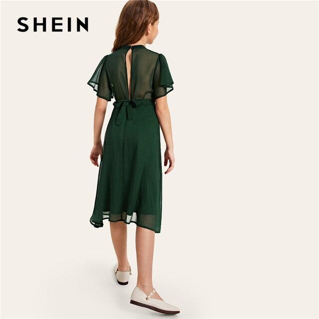 SHEIN для малышей платье для девочек зеленого цвета Твердые Разделение сзади Поясом Вечерние платье 2019 летние брюки с бабочками, с рукавом, без примесей, Симпатичные платья раструбом для детей