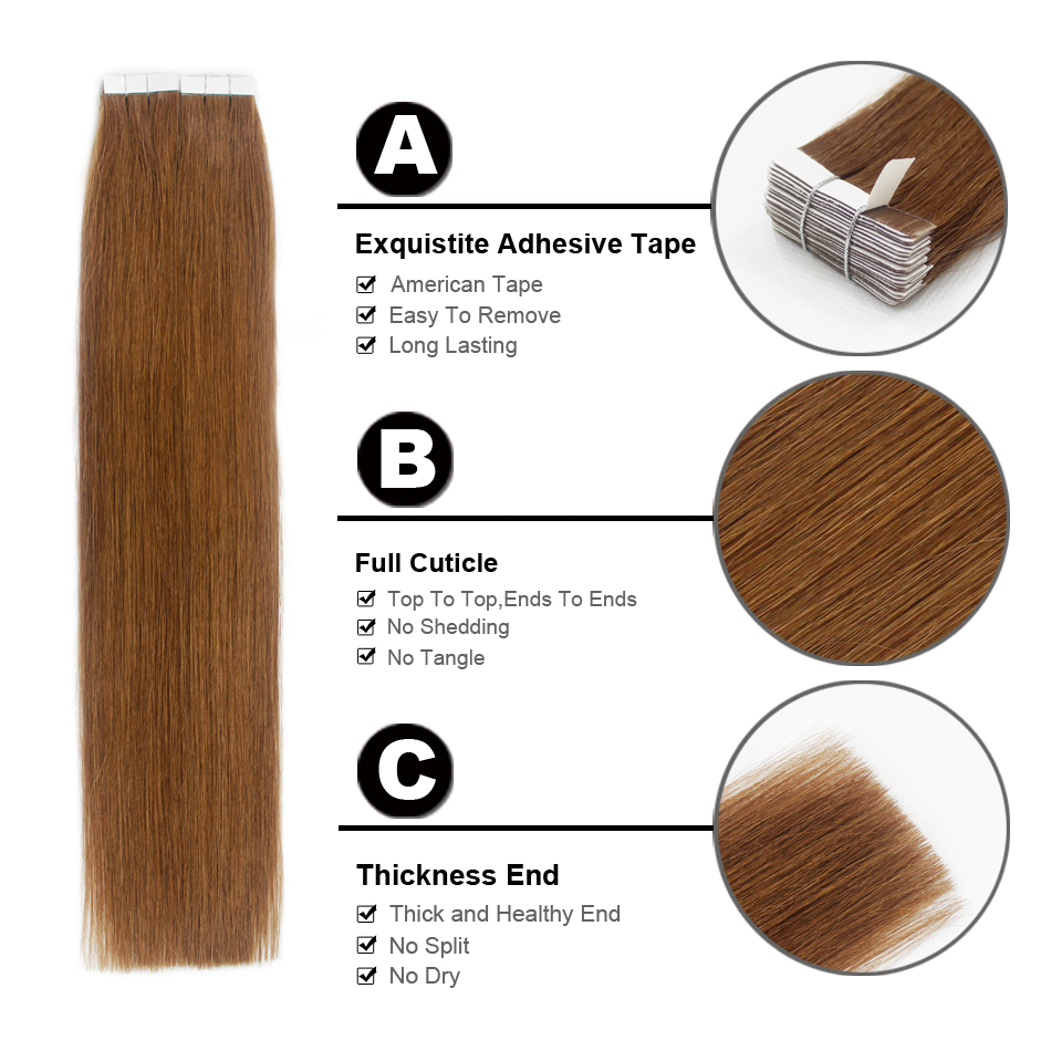Forever Hair 20gpc 18 Remy Tape In Human Hair Extension Chestnut