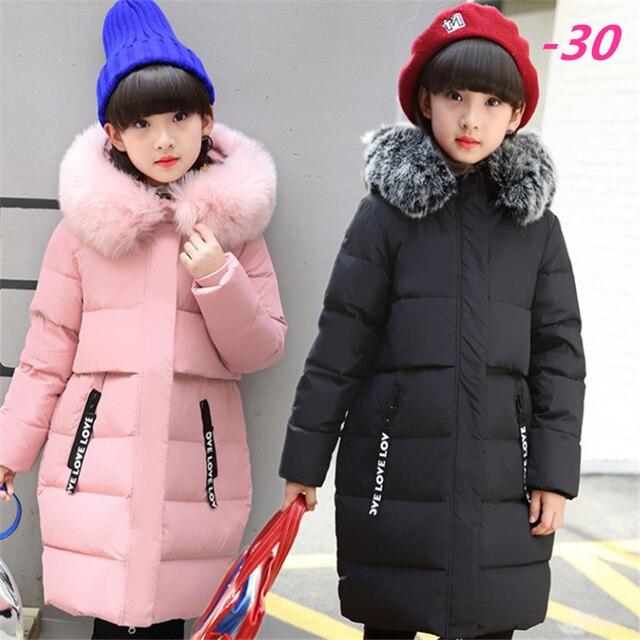2017 Winter Russia Children Long Section Duck Down & Parkas Girls Down Jackets & Coats baby Winter Fur Collar Outwear -30 Degree