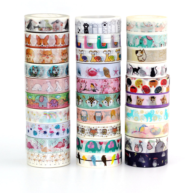 10m Decor Cute Washi Tape Animal Set Dog Cat Flamingo Elephant Polar Bear Snail DIY Planner Masking Tapes School Office Supplies
