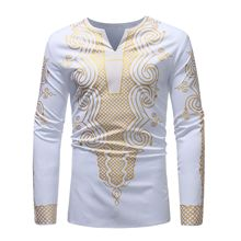 2019 men's African style long sleeve v-neck casual T-shirt with printed print