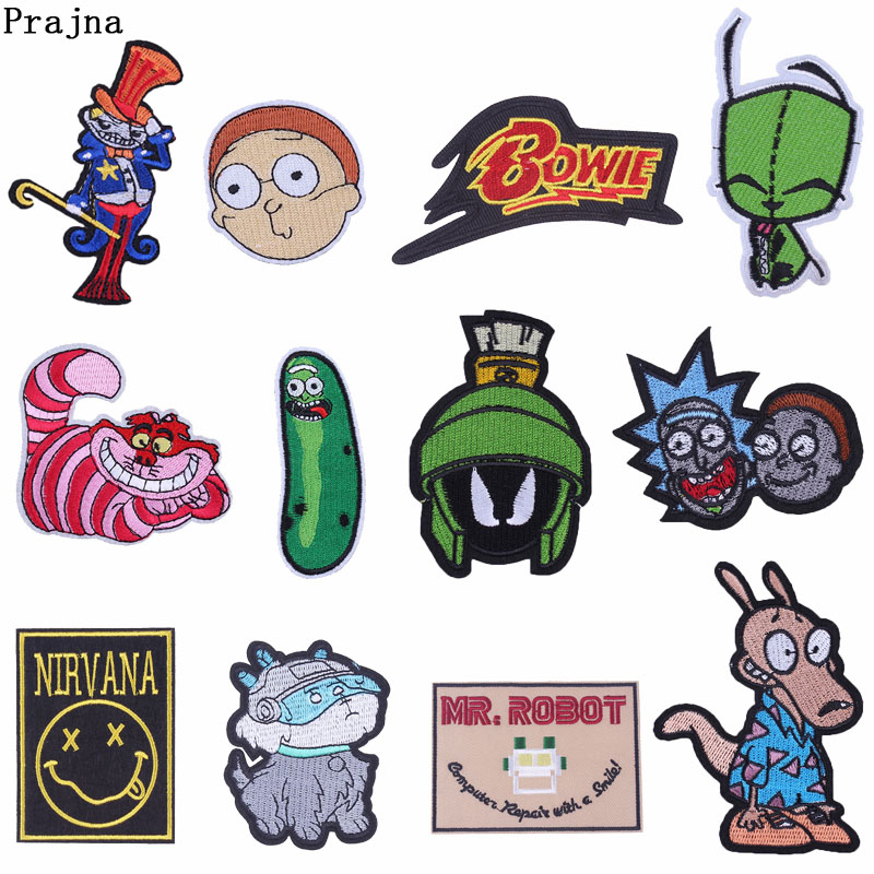 Prajna Rick and Morty Nirvana Viking Patch Iron On Embroidered Patches For Clothing Stranger Things Bowie Stickers On Clothes F action figure pokemon