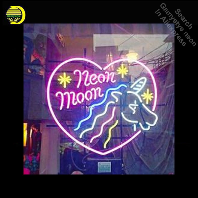 Neon Moon Horse Neon Sign light Neon Bulbsign Signage Vintage neon signs Real Glass Tube Handcrafted Beer bar pub light up Sign