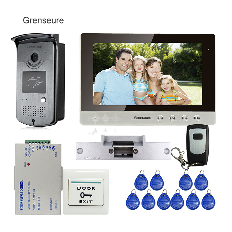 FREE SHIPPING 10 Color LCD Video Intercom Door Phone System + Outdoor RFID Access Doorbell Camera + Electric Strike door Lock video phone intercom with door rfid electric lock intercom camera video doorbell for 6 apartments 7inch color tft lcd monitor