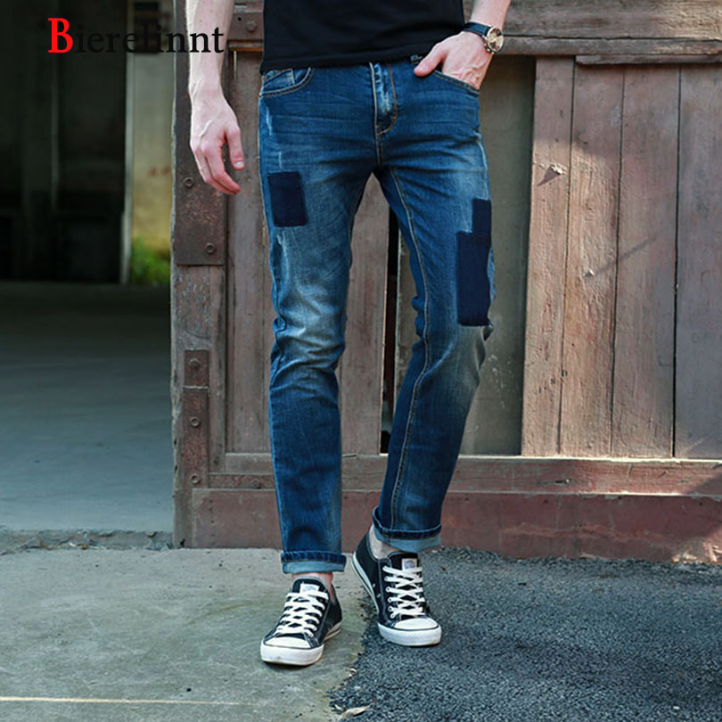 2017 New Arrival Casual Straight Elastic Slim Fit Patch Jeans Men,Good Quality Hot Sale Denim Long Pants Men Jeans,158012-6 autumn new arrival 2017 jeans pants afs jeep elastic mens straight men mid risef slim fit men s casual pants fashion men s jeans