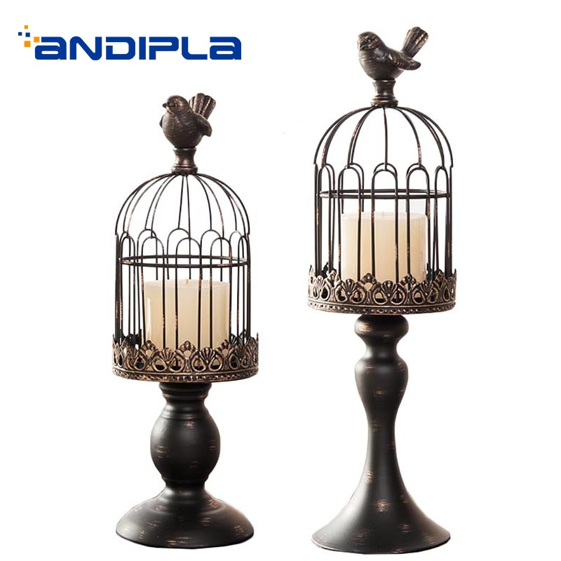 European Style Candle Holder Iron Art Birdcage Candlestick Wedding Party Candle Base Night Light Home Decor Adornment Crafts