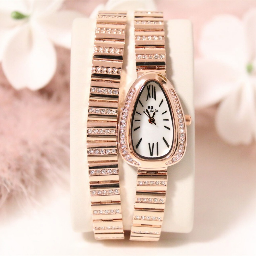 New Arrival Luxury BS Brand Lady Rose Snake Dress Watch Stainless Steel Rhinestone Bracelet Wristwatch Crystal Bangle  2016 new arrival luxury bs brand crystal women gold watch lady dress watch rhinestone bangle bracelet valentine gifts free ship