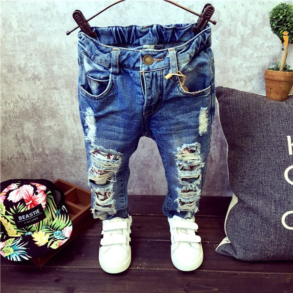 freeshipping!!ripped jeans for kids 2016 kids Fashion denim clothing baby  boy jeans for - Freeshipping!!ripped Jeans For Kids 2016 Kids Fashion Denim
