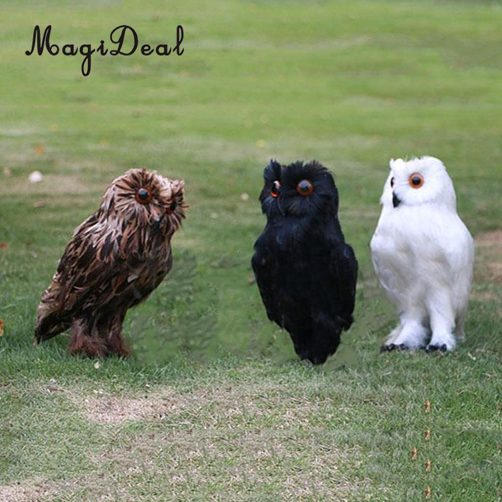 Elegant MagiDeal Fake Artificial Owl Bird Feather Realistic Taxidermy Home Garden  Decor White For Home Garden Yard Shop Window