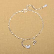цена на 925 Sterling Silver Jewelry Star Moon Charm Anklet for Women Girls Friend Foot Barefoot Leg Jewelry