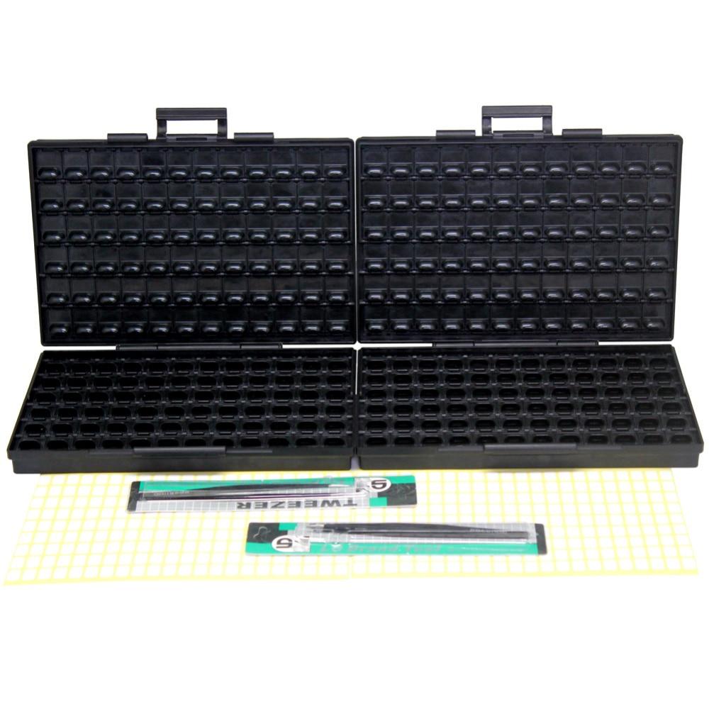 AideTek ESD Safe SMD Storage IC Resistor Box W/ Bins Anti-statics SMT Box Organizer Transistor Diode Plastic Toolbox 2BOXALLAS
