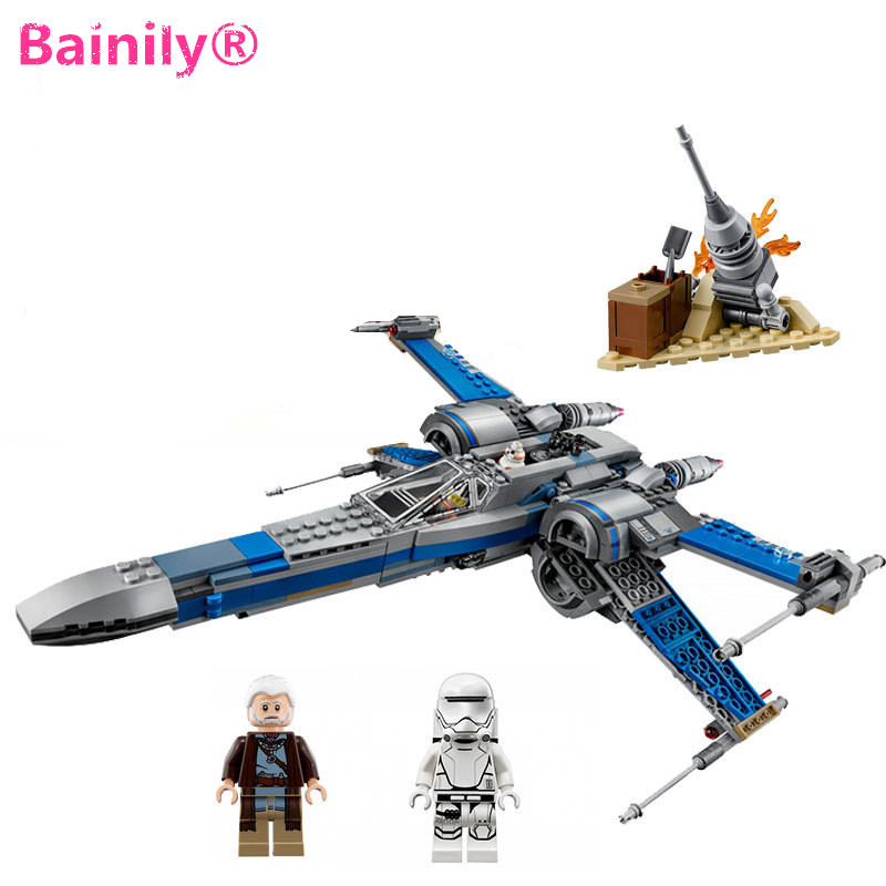 ФОТО [Bainily]Lepin Starwars Poe's X-wing Fighter Star Wars Building Blocks Toy For Children Compatible with Legoe Bricks Toys